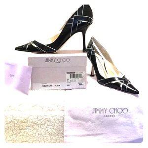 Jimmy Choo Black Leather Heels Size 6.5. (36 1/2)